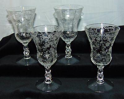 """4 Cambridge CHANTILLY CRYSTAL *5 1/2"""" - 5 OZ FOOTED JUICE TUMBLERS* 3625*"""