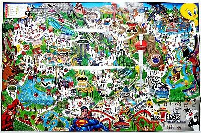 """Park Map: Six Flags Great America 2006 [RARE, POSTER-SIZED 33X22""""] - Gurnee, IL"""