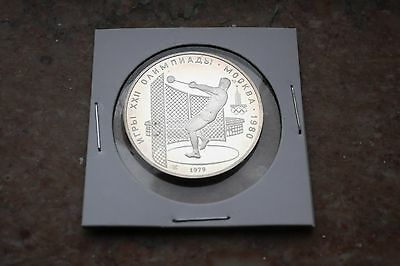 1980 Cccp Olympics Silver Cameo Proof Coin Moscow Russia 5 Roubles Hammer Throw