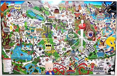 Park Map Six Flags Great America 2007 Rare Poster Sized 33x22