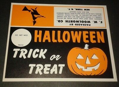 Vintage Halloween Label, Unused, Woolworth Department Stores