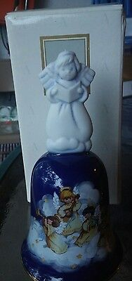 "Holiday Bell  -  Avon "" Christmas 1992"" With Angel Handle - Cobalt Blue"