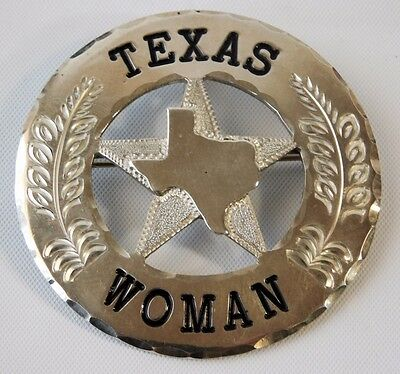 Vtg Sterling Silver TIM MOORE SPURS Texas Woman Ranger Badge Pin Brooch 24.3 g