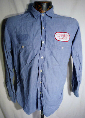 Mens Vintage Chambray Shirt sz L - Clyde Electric & Plumbing Company Patch