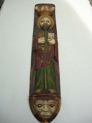 Antique hand carved and painted wooden religious icon - Saint???