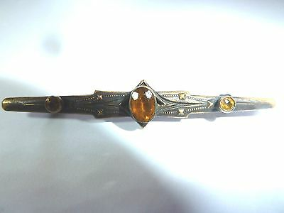 Topaz Faceted Glass Stones Antique Brooch