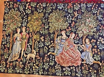 "French Tapestry Point de L'Halluin 3168 Scenes Galantes 51x73"" Botanical $1796"