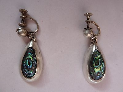 Vintage Sterling Silver Abalone Dangle Earrings