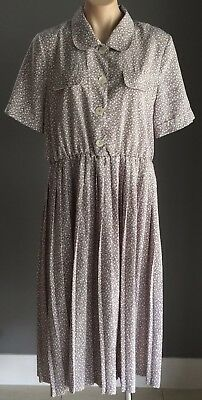 Vintage SOLO Grey & White Floral Print Elasticised Waist Dress Size 14