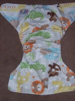 Alva Baby Cloth Diaper Jungle Animal Theme, Snap Adjustable Closure, Monkey Lion