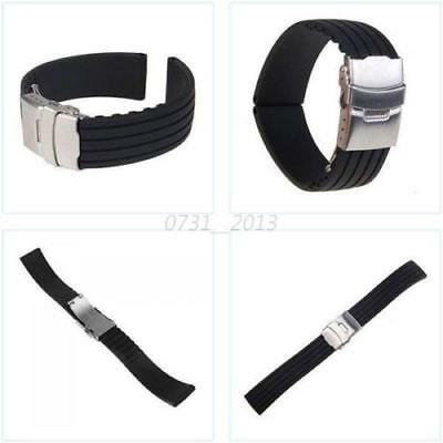 Mens Silicone Rubber Watch Strap Band Waterproof with Deployment Clasp Black