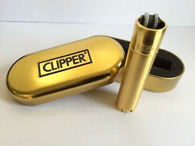 Genuine Gold Clipper Metal Lighter - Gold Metal Gift Case,2 Year Warranty