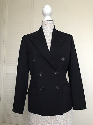 Vintage Ralph Lauren Womens Wool NAVY BLAZER Double-Breasted Thin Jacket 9
