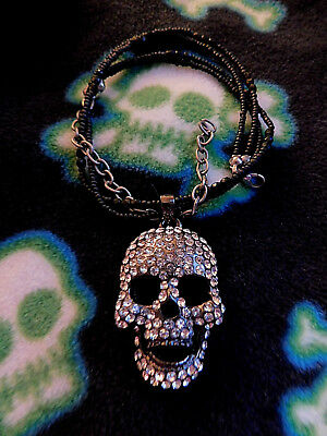 "Halloween Sprarkly Skull Pendant Movable Jaw Black Bead 16"" Choker Necklace"