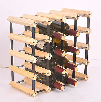 New 20 Bottle Timber Wine Rack - Complete Wooden Wine Storage System