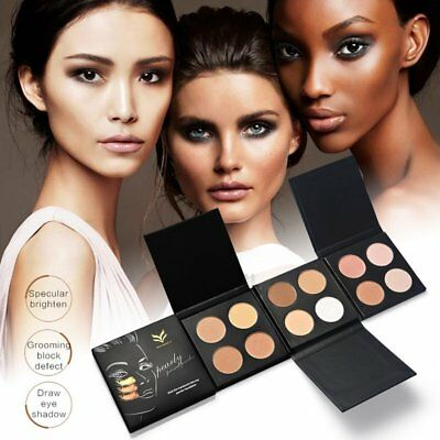 HUAMIANLI 4 Colors/Set Oil-Control Highlighter Face Pressed Powder Palette OP