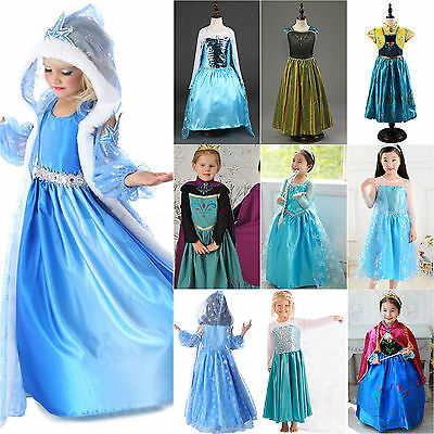 Girl Elsa Frozen Dress Costume Princess Anna Crown Wand Wig Party Cosplay Outfit