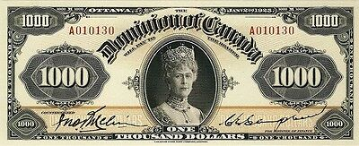 Dominion of Canada 25 cents - 1000 Dollars 1923-1925 Series Reproduce