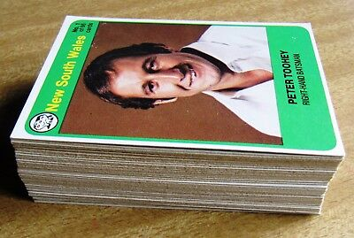 1978/79 Scanlens Cricket Card Set  (66 cards)  + 6 unmarked check lists