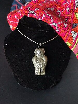 Old Chinese Silver Baby Charm on Silver Chain …beautiful and unusual