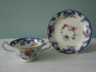 Rare Crown Derby Soup Coupe & Saucer