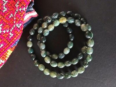 Old Chinese Green Aget Neck Beads …beautiful collection and accent piece