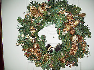 "Vtg  21"" Lights Xmas Door Wreath Large Gold Fruit - Pears Apples Pinecones balls"