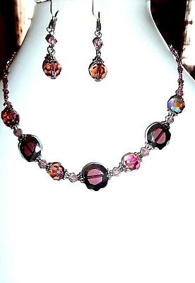 Vintage Large Aurora Borealis Necklace and Earrings