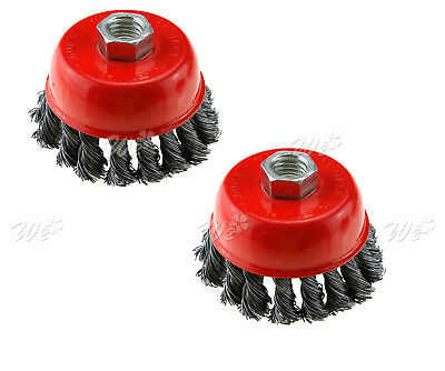 "2x 75mm Twist-Knot Bowl Wire Cup Brush 3"" Angle Grinder M14 Silverline Removal"