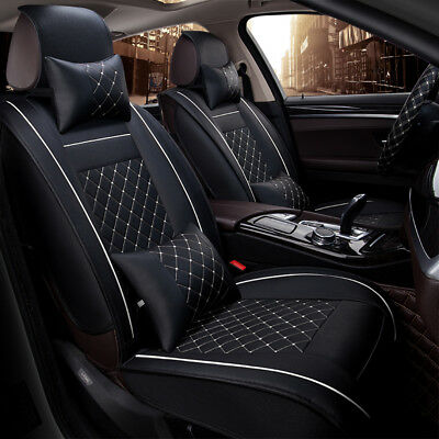 Deluxe Edition Car Seat Cover Cushion Mat 5-Seats 2 Front PU Leather w/ Pillows