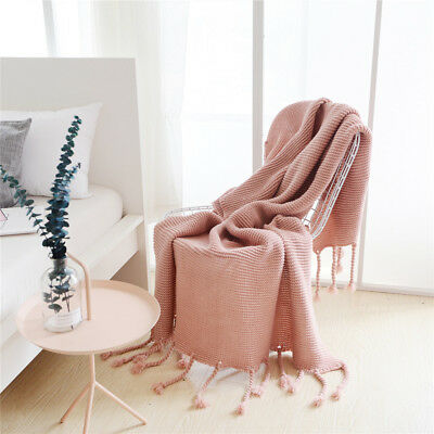 Chunky Tassel Fringe Knitting Throw Blanket Bed Couch Home Decor Classic Rug NW