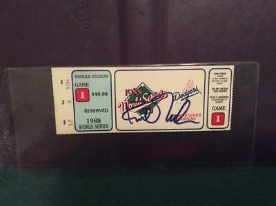 Kirk Gibson Signed Game 1 1988 World Series Ticket Stub/los Angeles Dodgers/a's
