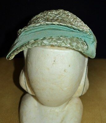 Vintage 50's Womens Mint Green Woven Cocktail Cloche