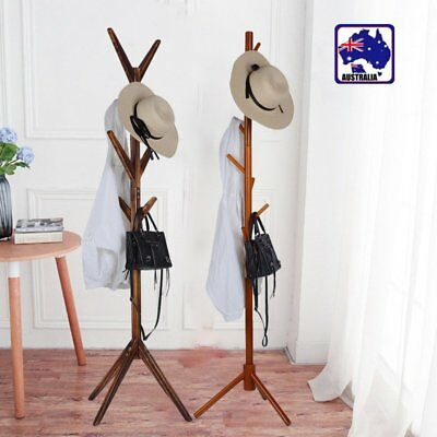 Tree Style Coat Stand 8 Hooks Multi Coat Hat Rack Bag Rack Tree Style Wooden RL