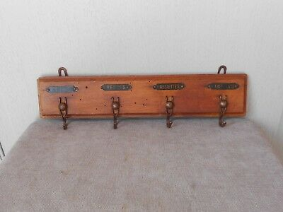 French ANTIQUE authentic Wood TOWEL RACK holder  4 metal labels & hooks