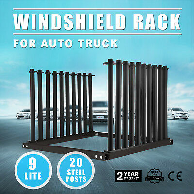 9-Lite Windshield Glass Rack Pickup Carriage Black Protection For Truck