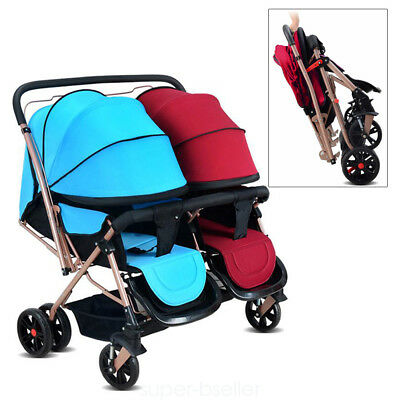 Twins Stroller Baby Toddler Tandem Twin Pushchair Pram Buggy Double Stroller UK