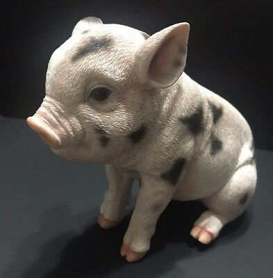 "Decorative Pig Figure Statue White Black Spots Hotam 9"" Piglet Realistic"