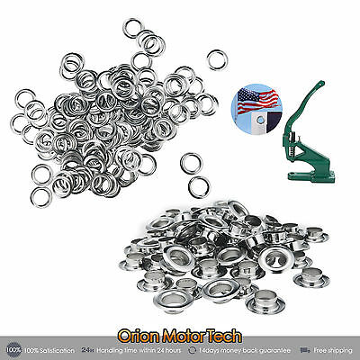 "1000 Grommets # 2 Silver Metal 3/8"" Eyelet with washers for Hand Press"