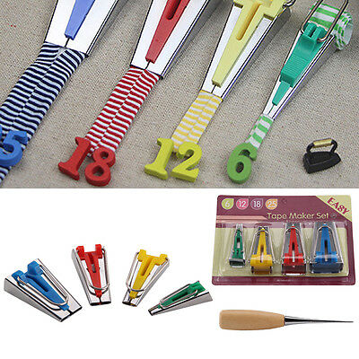 6/12/18/25 mm Fabric Bias Tape Maker Binding Tool Quilting Sewing Kit with Case