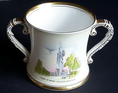 1938 Empire Exhibition Glasgow Shelley pottery  8.5cm two handled loving cup
