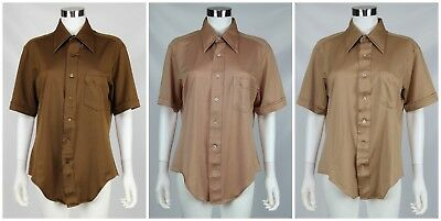 Richman Brothers Mens Vintage Shirt Lot of 3 Beige Brown Poly Short Sleeve Sz 16