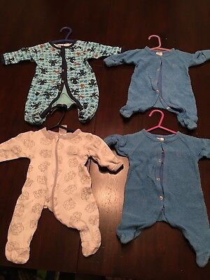 4 Baby Boys Clothes 0-3 Month Size 0000 Sleepers Pajamas Outfits