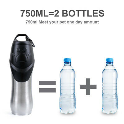 Pet Travel Water Bottle Portable Dog Puppy Stainless Steel Drinking Bottle 750ml