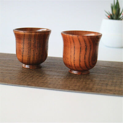 3pcs 80ml Hand-made Carved Line Decor Natural Wooden Sake wine Cup 5.6*5.2 cm