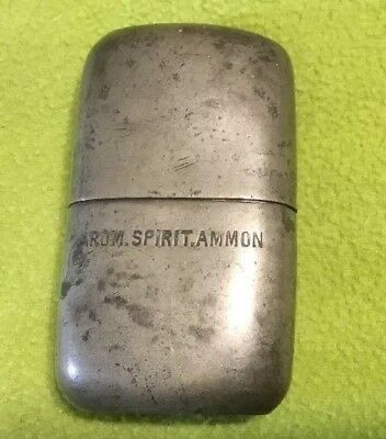Vtg ~ Flask ~ Arom. Spirt. Ammon ~ MAW LONDON ~1380 ~ Pewter ~ WWI
