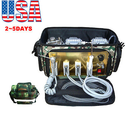 【USA】Portable Dental Unit with Air Compressor Suction System 3 Way Syringe 410W