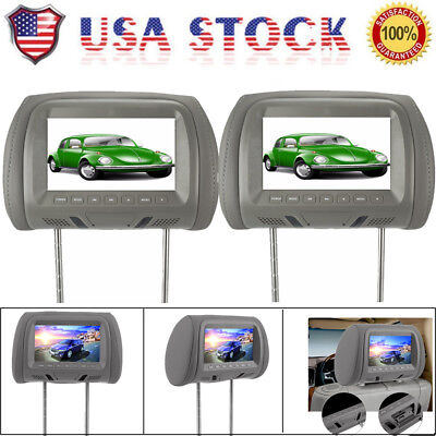 2X 7 inch HDMI Active Car Headrest Pillow Monitor Slot SD MP5 Player Gray US