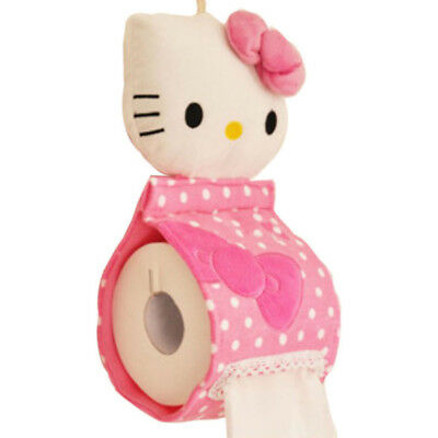 Bathroom Soft Plush Hanging Roll Toilet Paper Holder kitty Style Tissue Cover