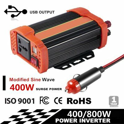 400W/400W Peak Pure Sine Wave Power Inverter DC 12V to AC 220V Car Caravan Po